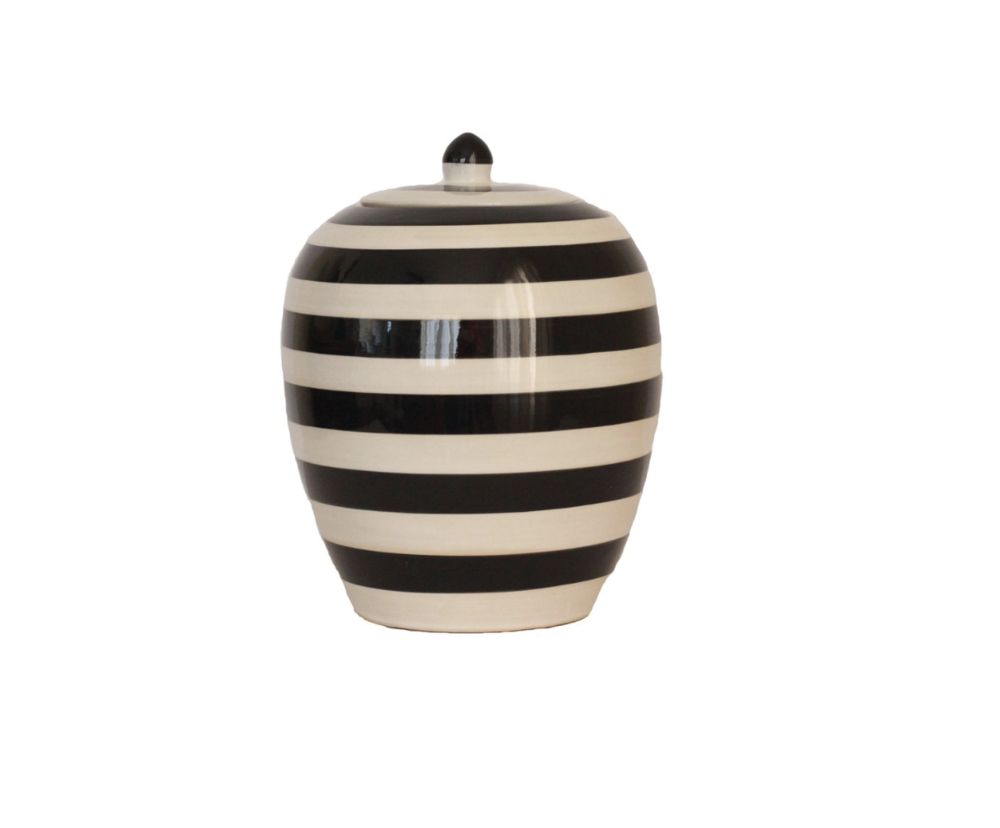 black and white striped urn.png