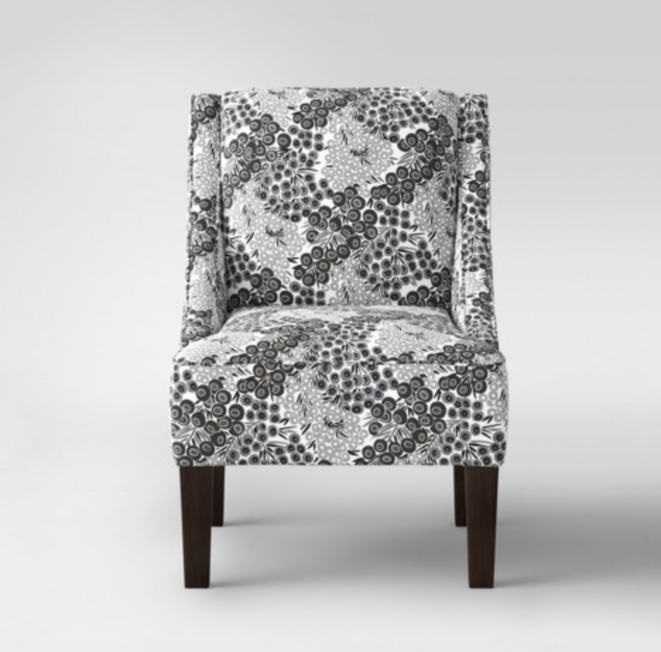 black and white fabric side chair
