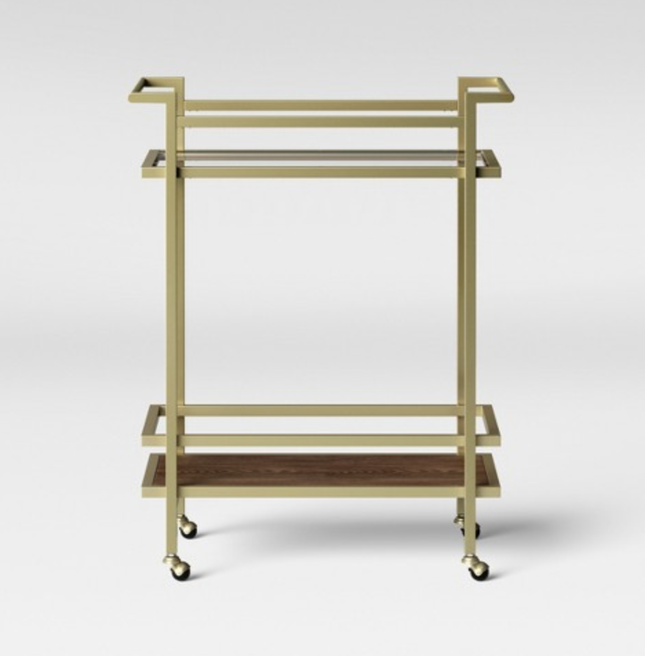 modern gold bar cart
