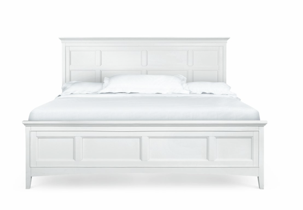 white panel queen bed