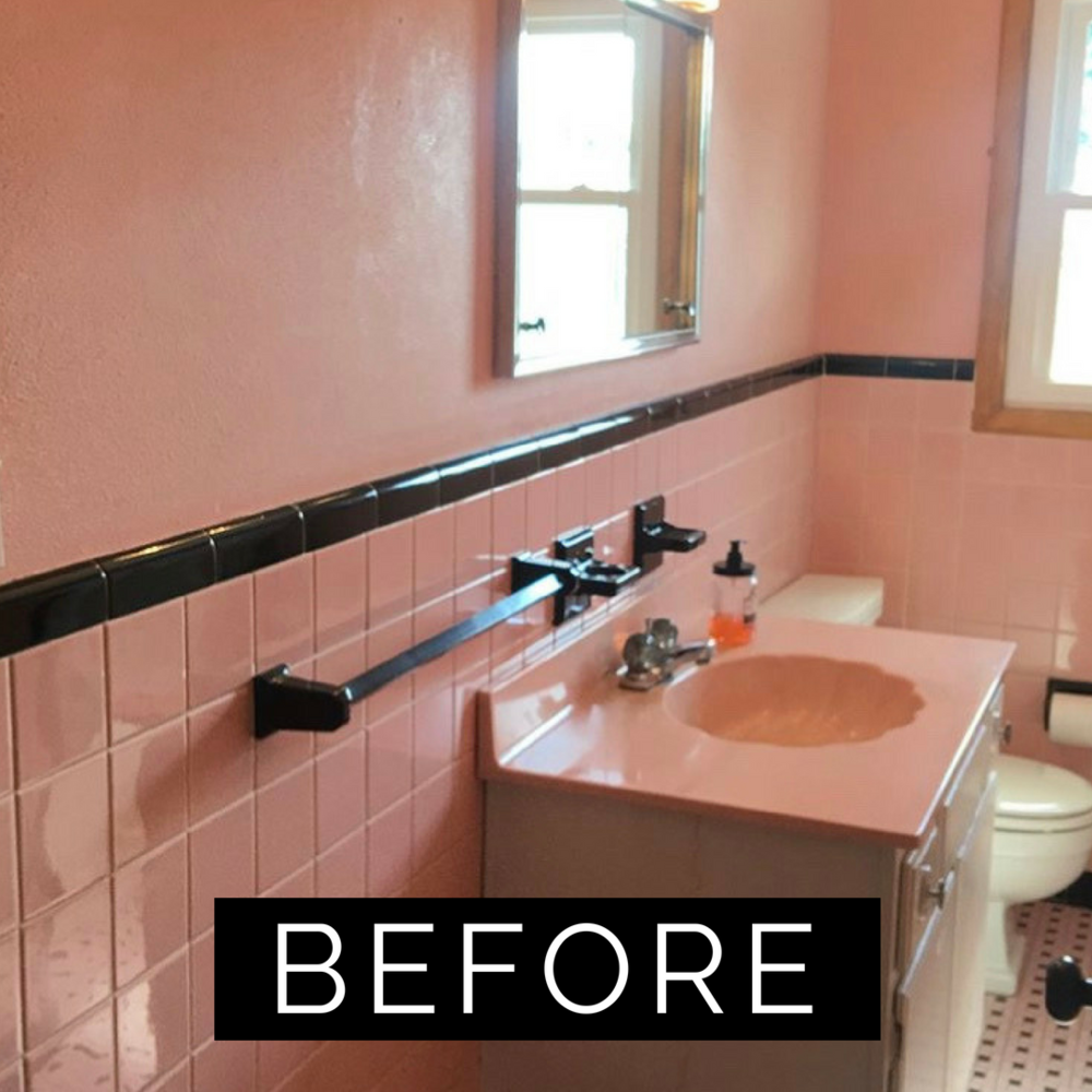 pink tile bathroom refresh