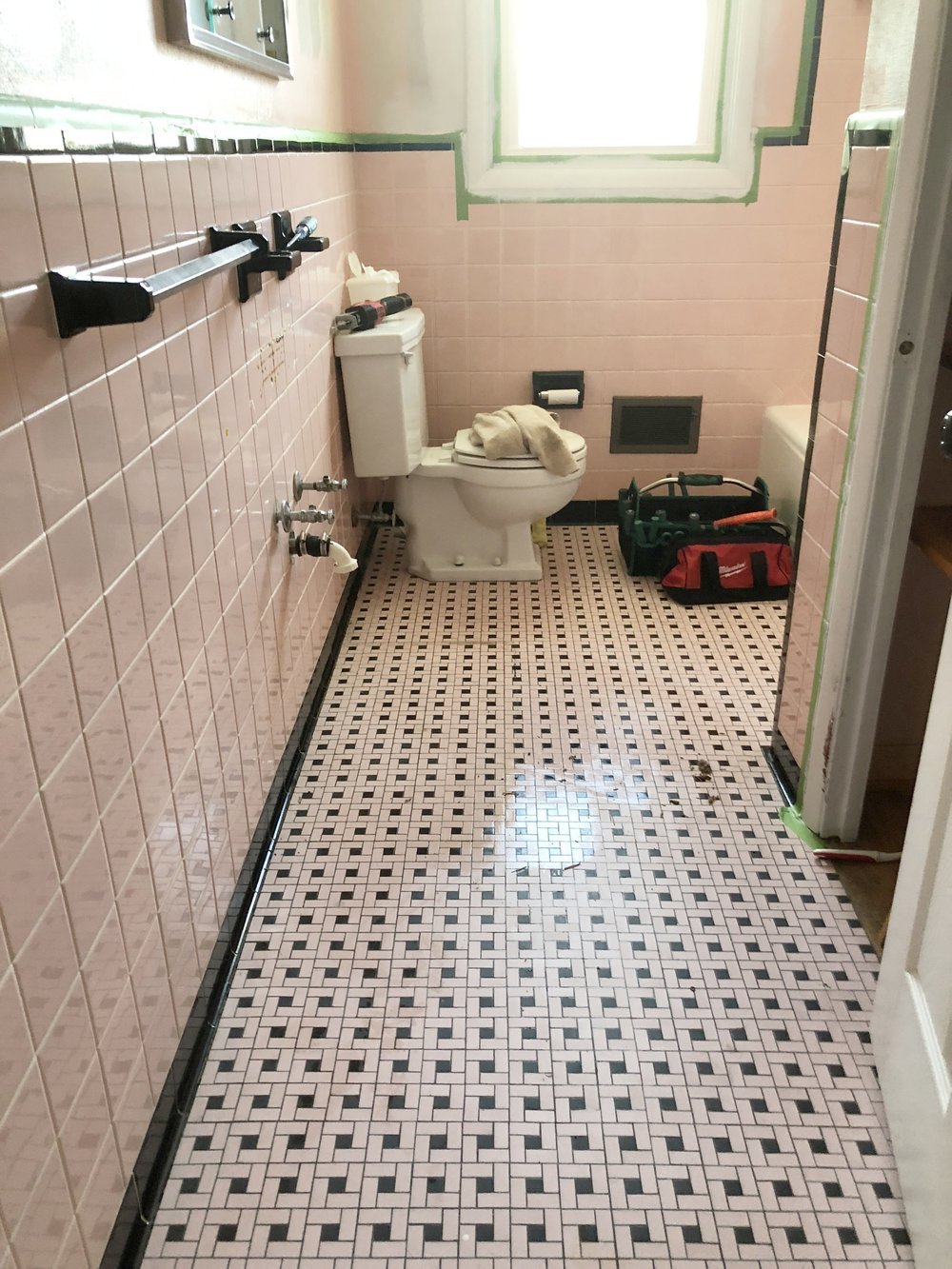 pink tile bathroom DIY refresh
