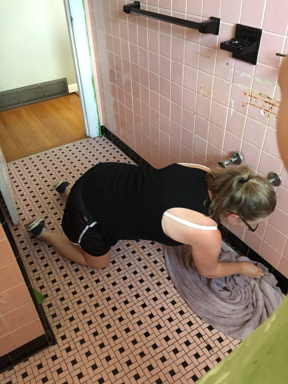 pink tile bathroom renovation