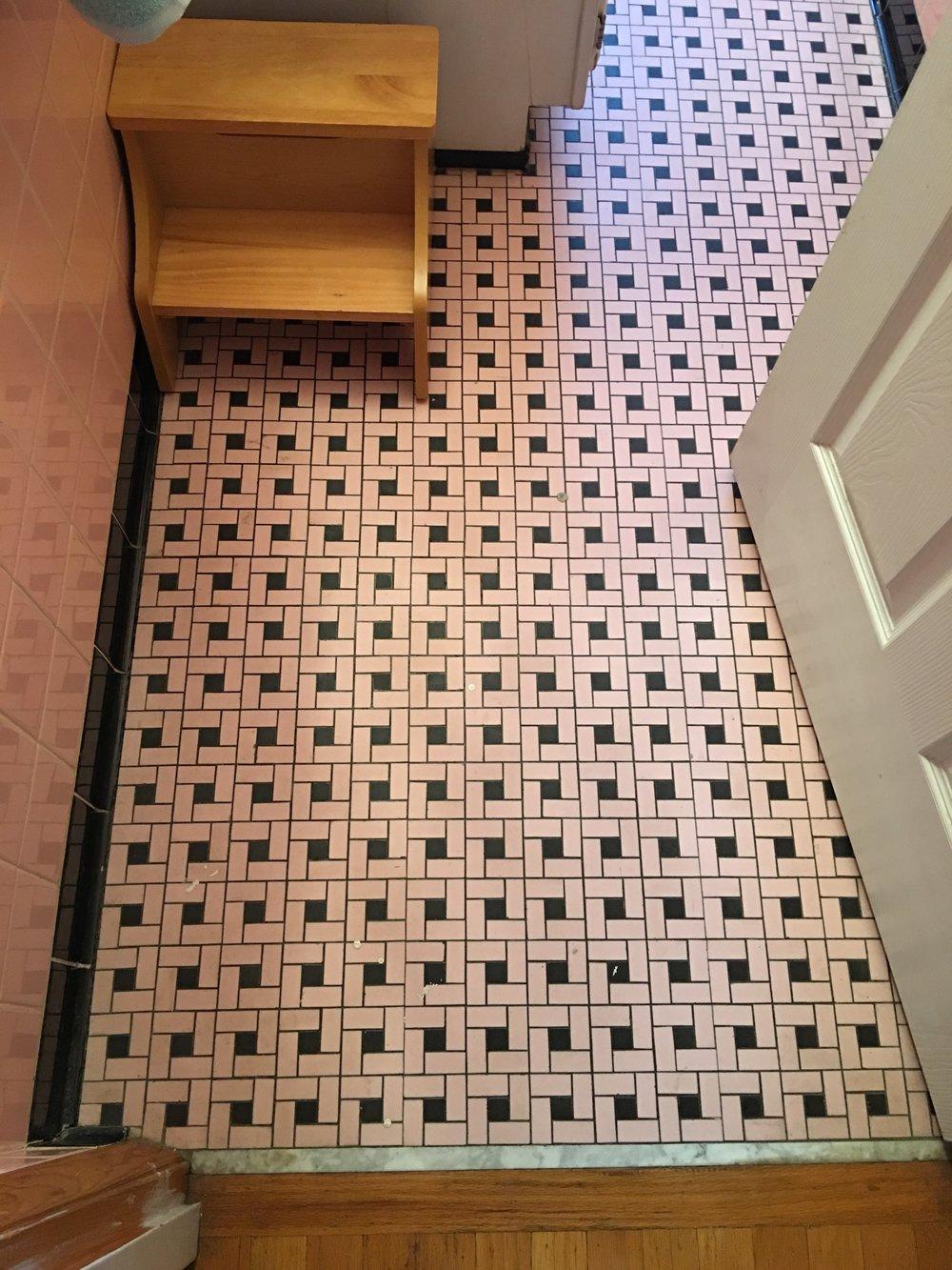 pink tile bathroom refresh
