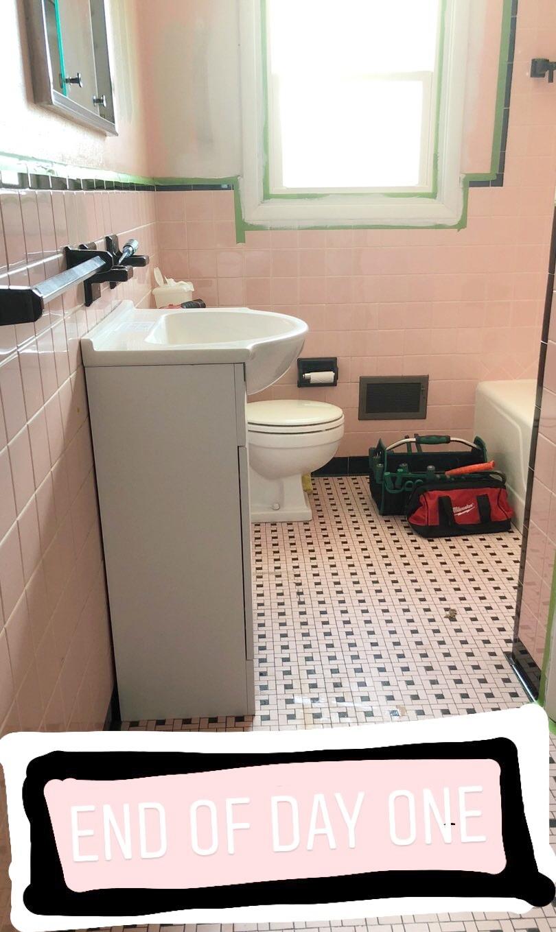 pink bathroom remodel