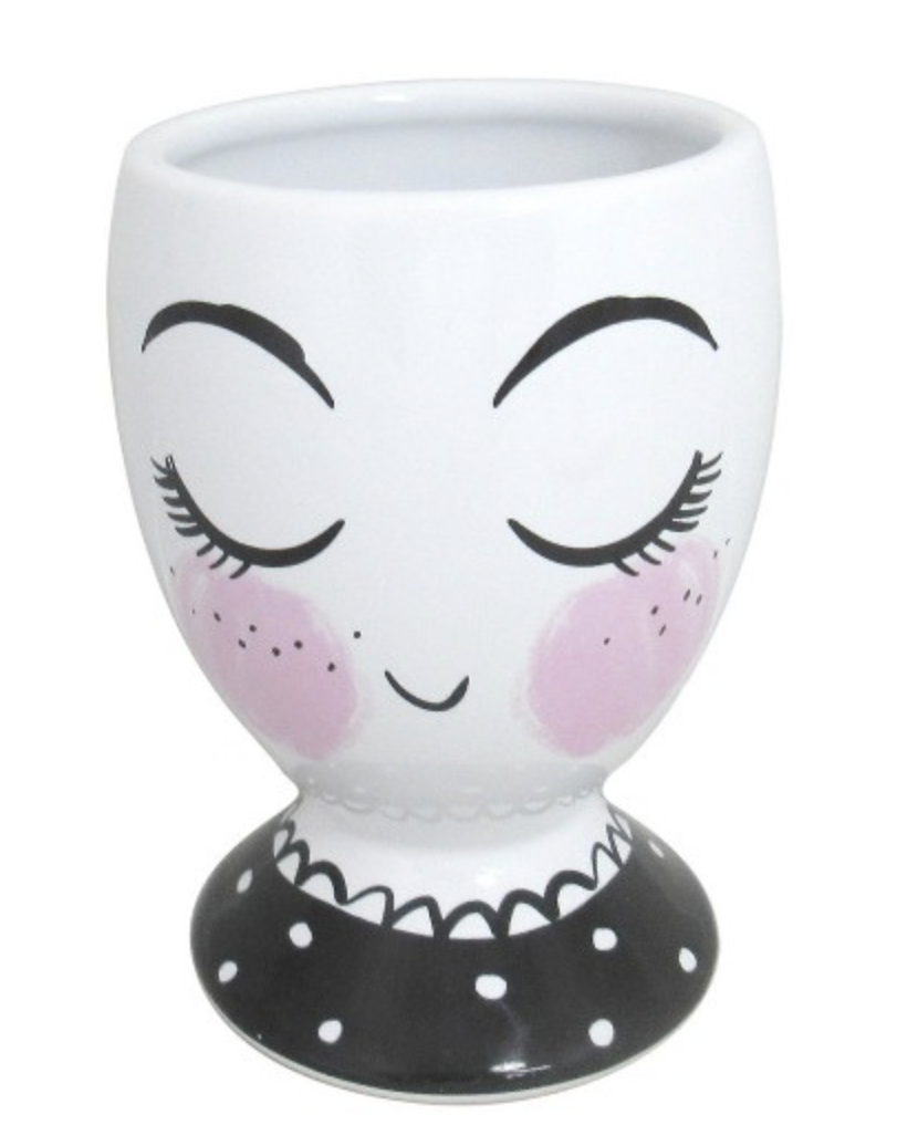 lady face brush and pencil cup