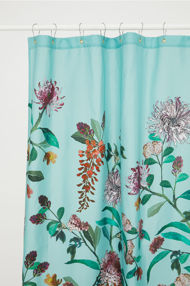 shower curtain with pink accents