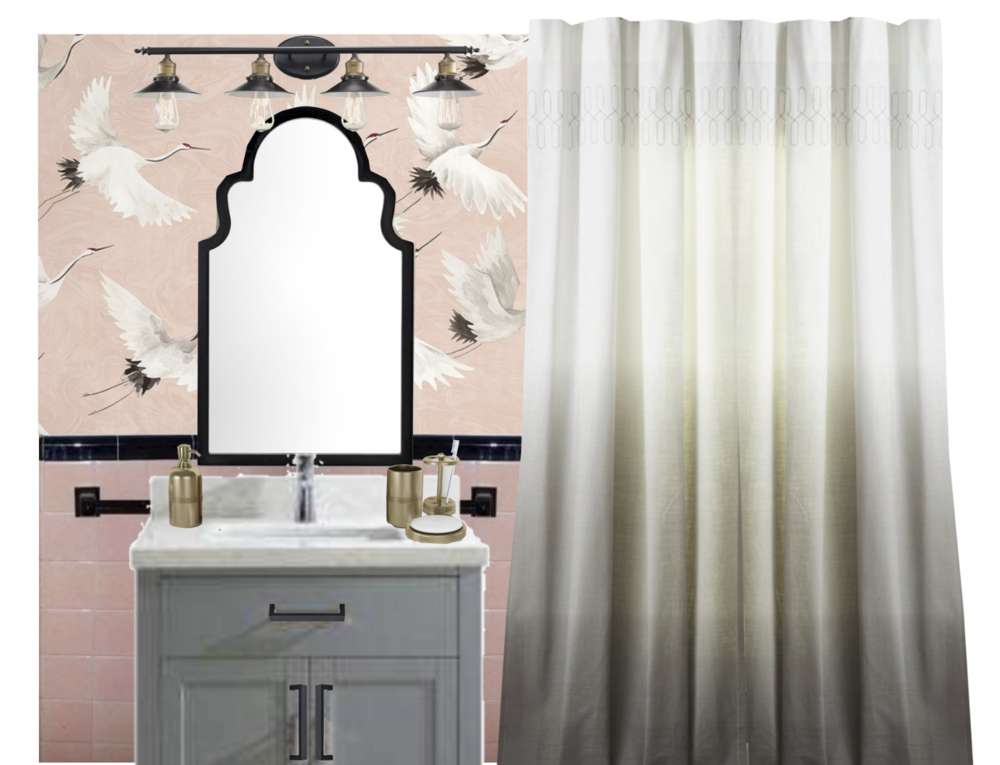 pink bathroom design concept with wallpaper