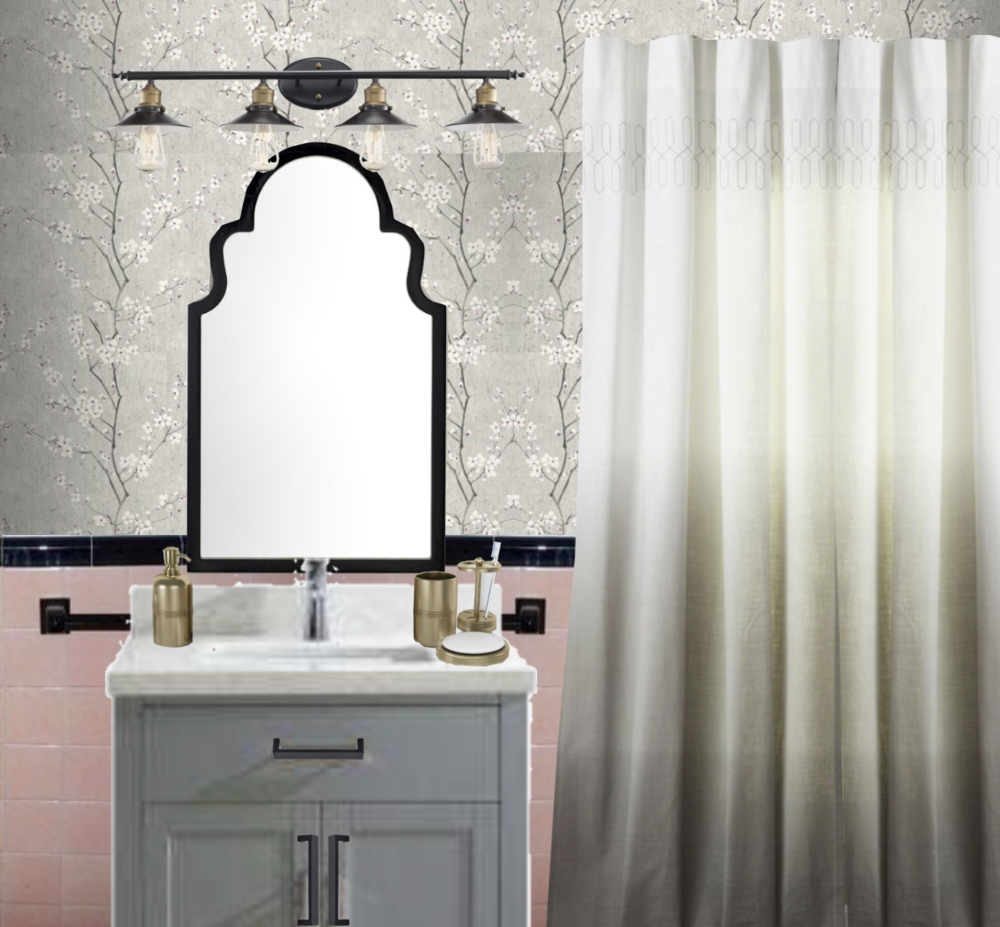 vintage pink bathroom makeover with floral wallpaper
