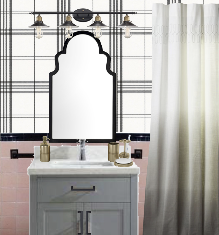 pink bathroom refresh with plaid wallpaper