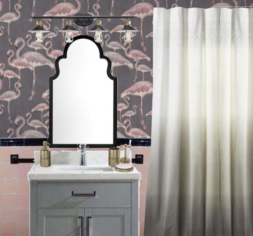 vintage pink tile bathroom with flamingo wallpaper