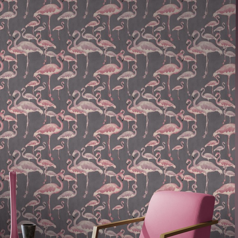 pink flamingo and black wallpaper arthouse