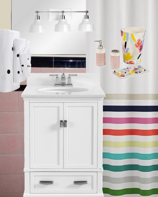 pink tile bathroom remodel Kate spade inspired