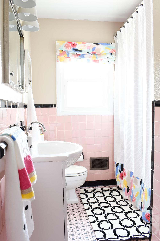 pink and black vintage tiled bathroom makeover on a budget