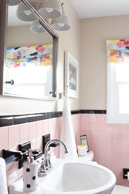 pink bathroom renovation on a budget