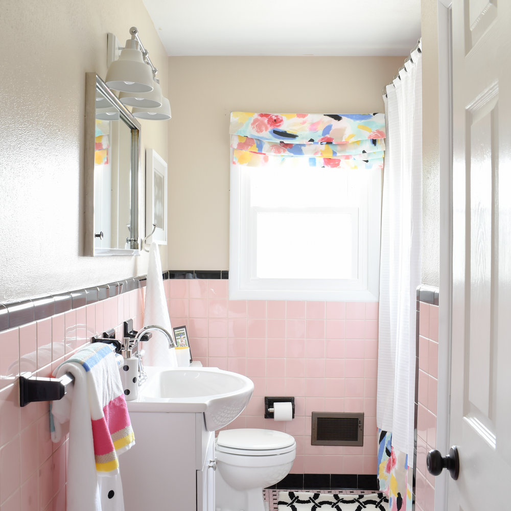 1950s pink tile bathroom makeover