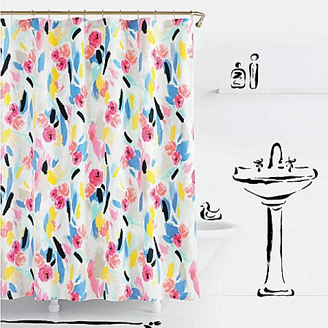 pink and blue kate spade shower curtain