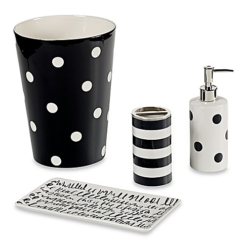 black and white bath accessories