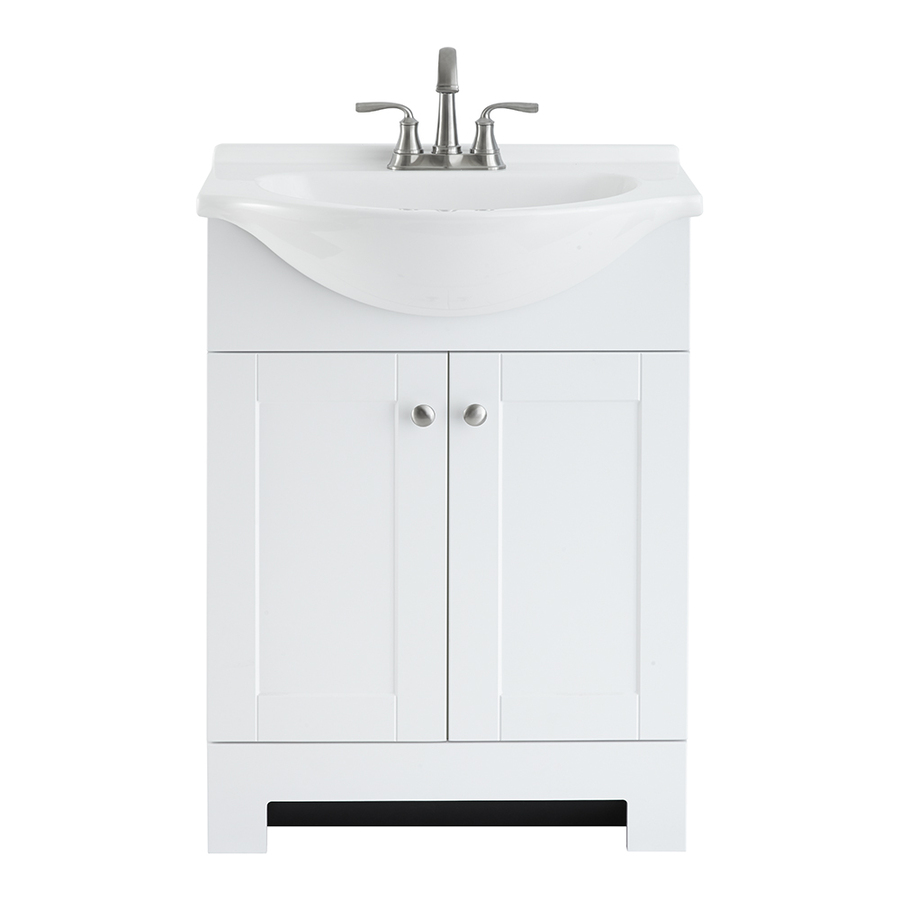 white shallow bathroom vanity