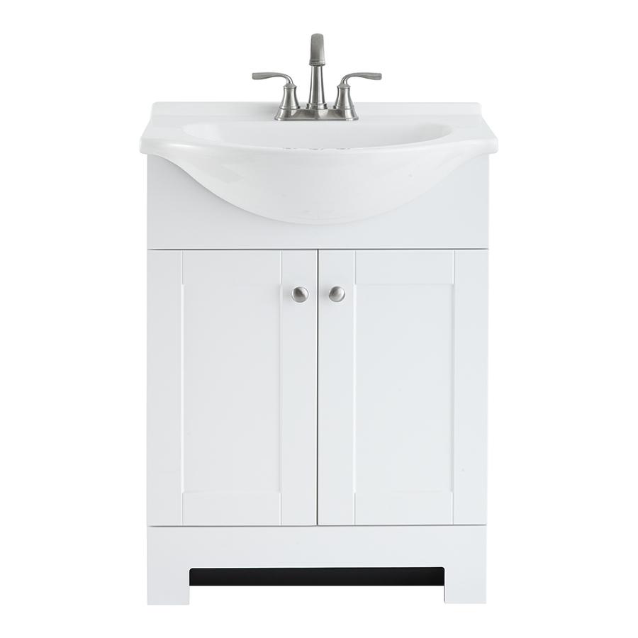 white shallow bathroom vanity