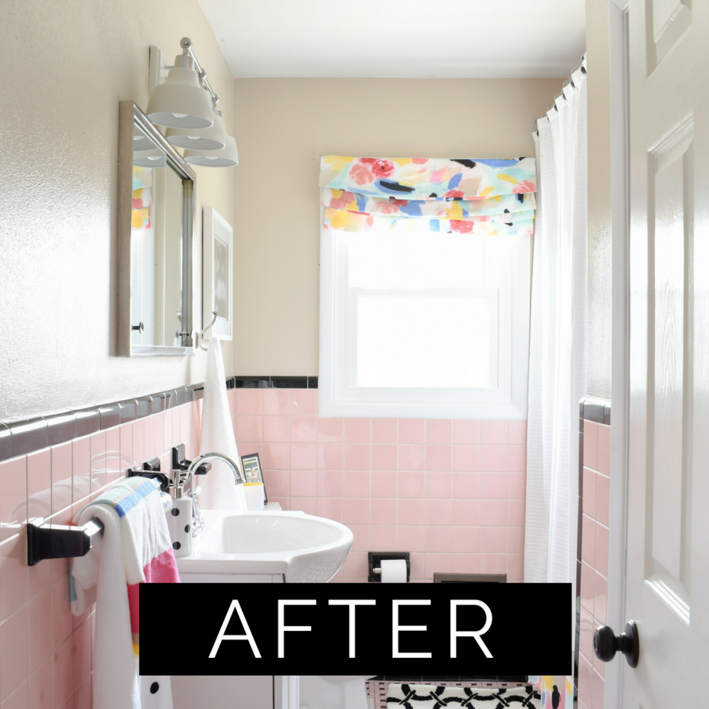 vintage pink tile bathroom makeover on a budget