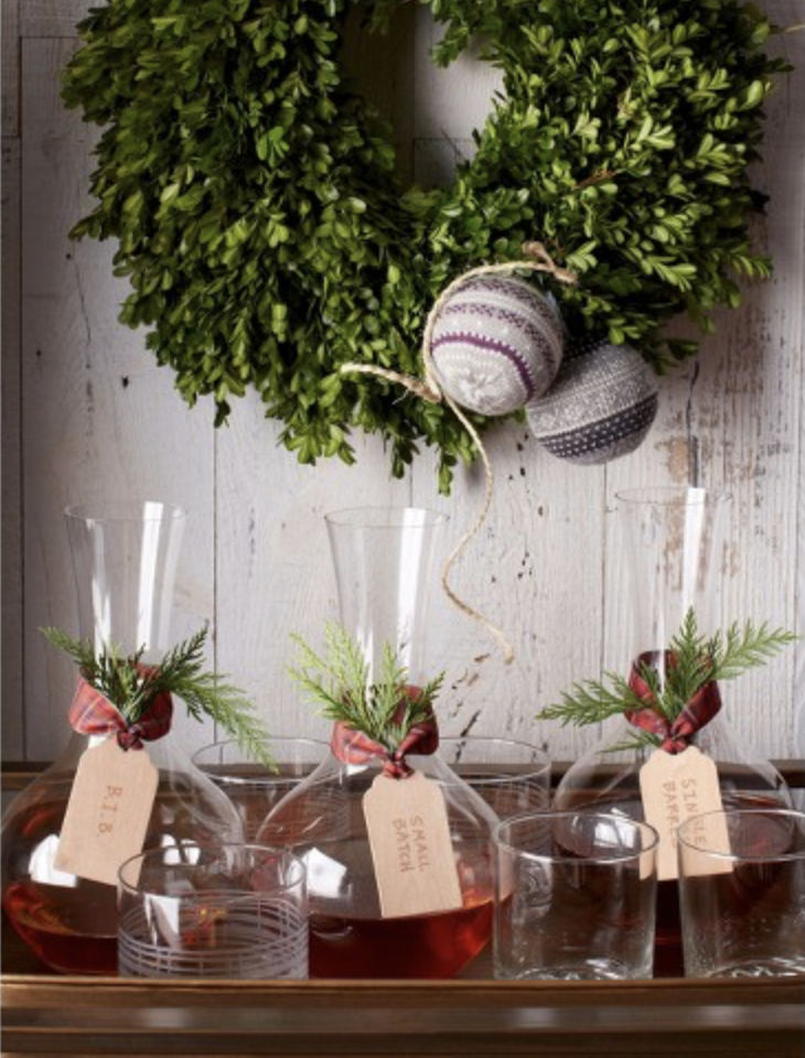 winter decorating with boxwood wreath