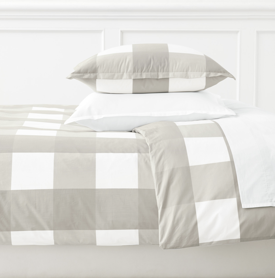 neutral bedroom decor. - love this gingham duvet - pair it with navy or a bright accent color