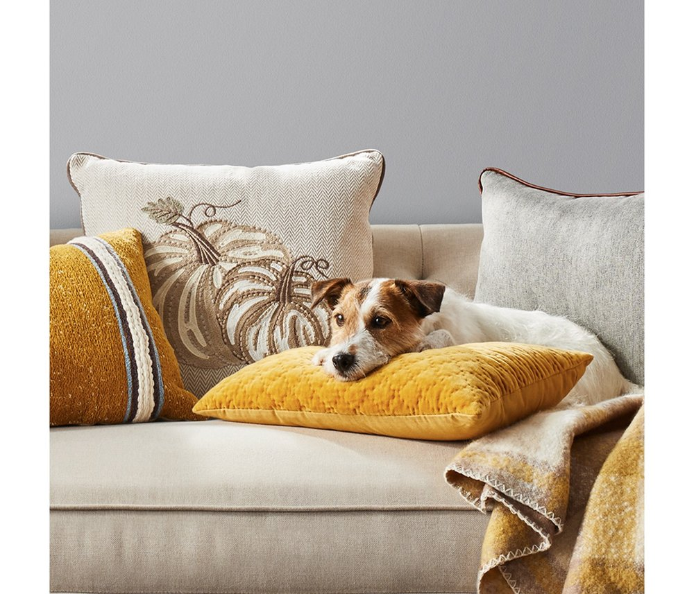 fall home decor updates with pillows and throws
