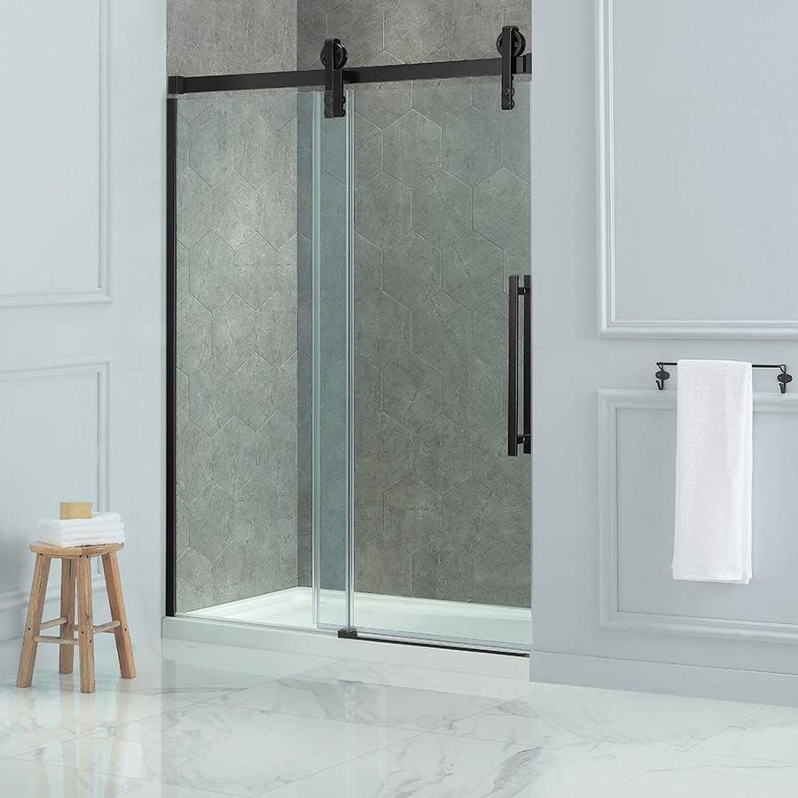 farmhouse bathroom with frameless shower door