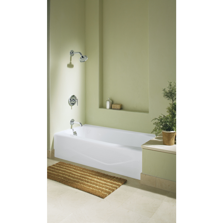 green bathroom with natural accents - this alcove tub is a real bargain