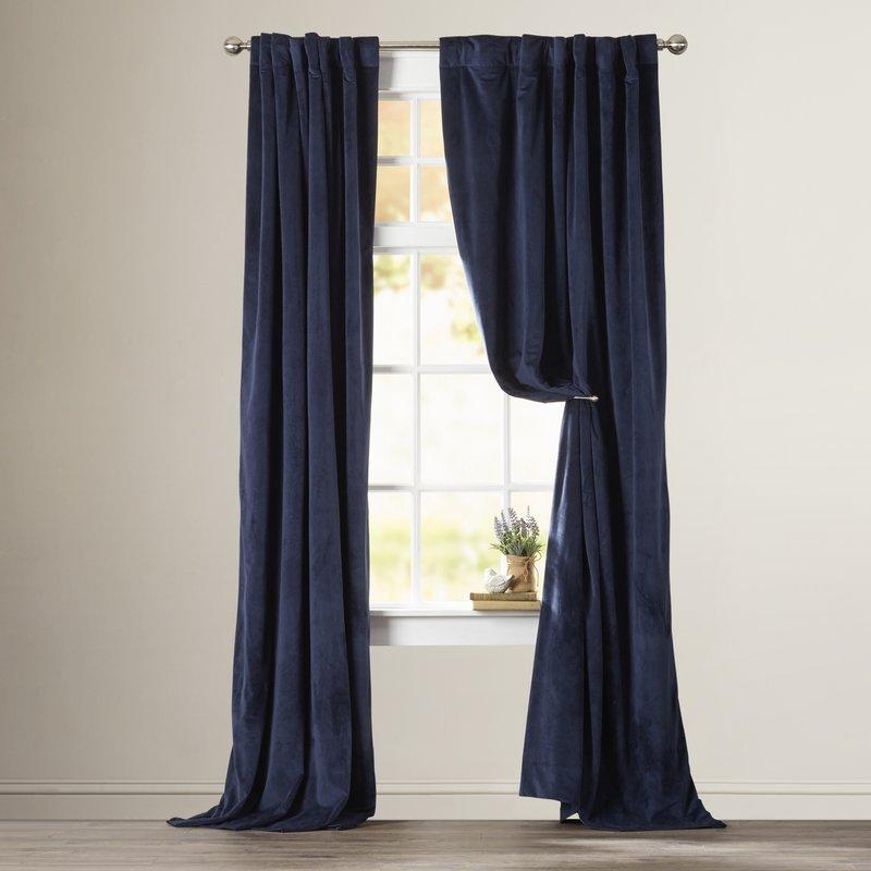 dining room inspiration - navy blue velvet curtains