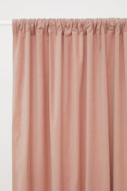 modern dining room look - budget velvet curtain panels in blush pink