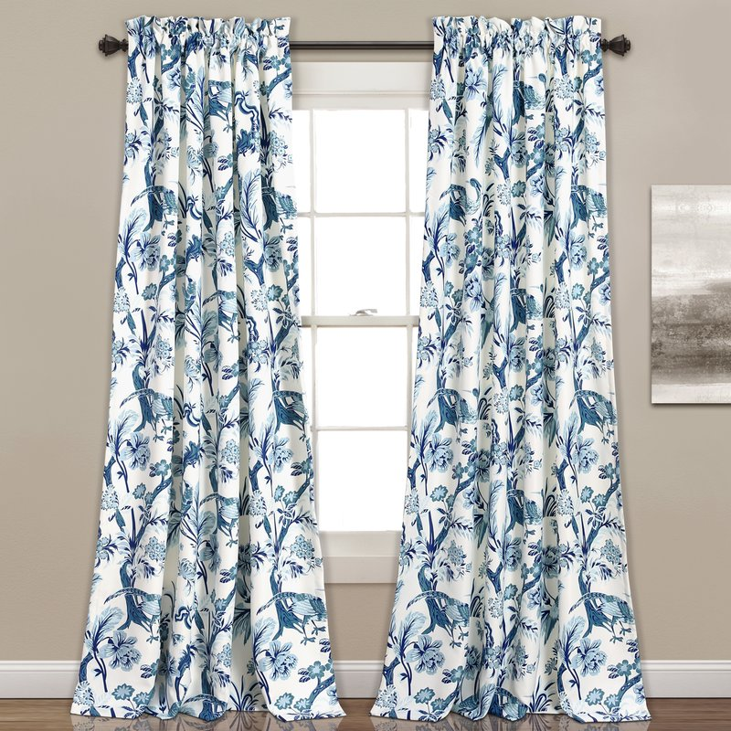 modern chinoiserie blue curtain panels