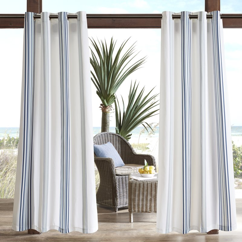 coastal cottage look striped curtain panels with blue and white