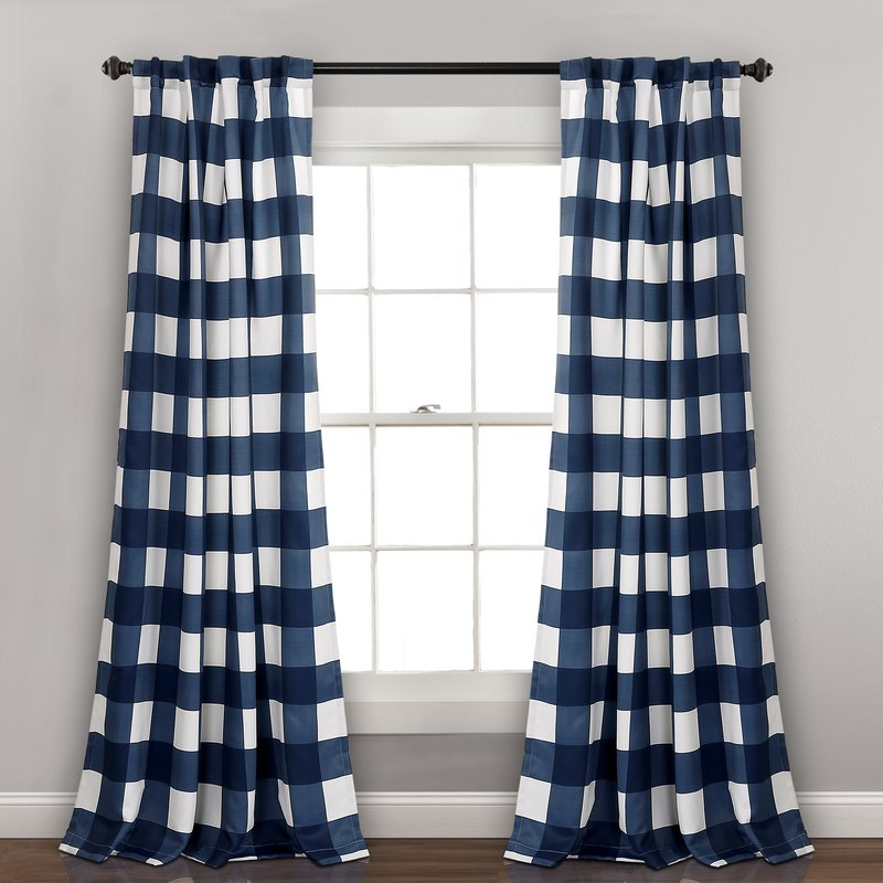 traditional home - loving this buffalo check in navy blue for fall updates