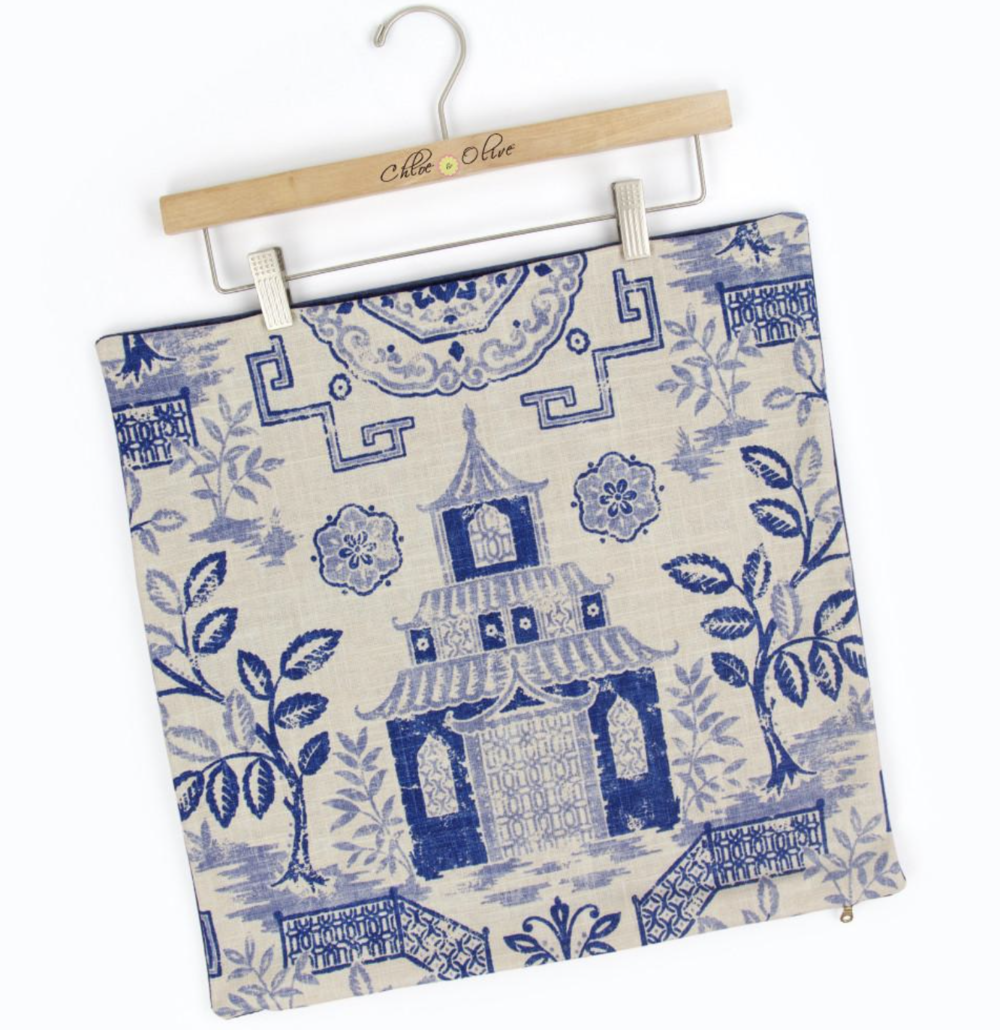 blue chinoiserie home decor pillow cover