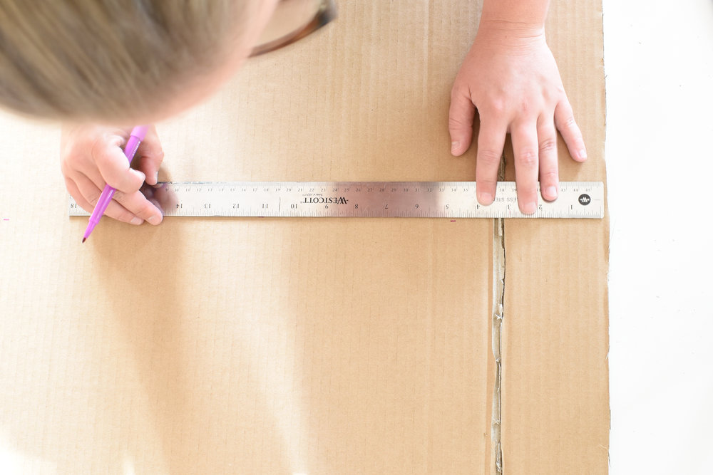measuring for your DIY cardboard cornice board
