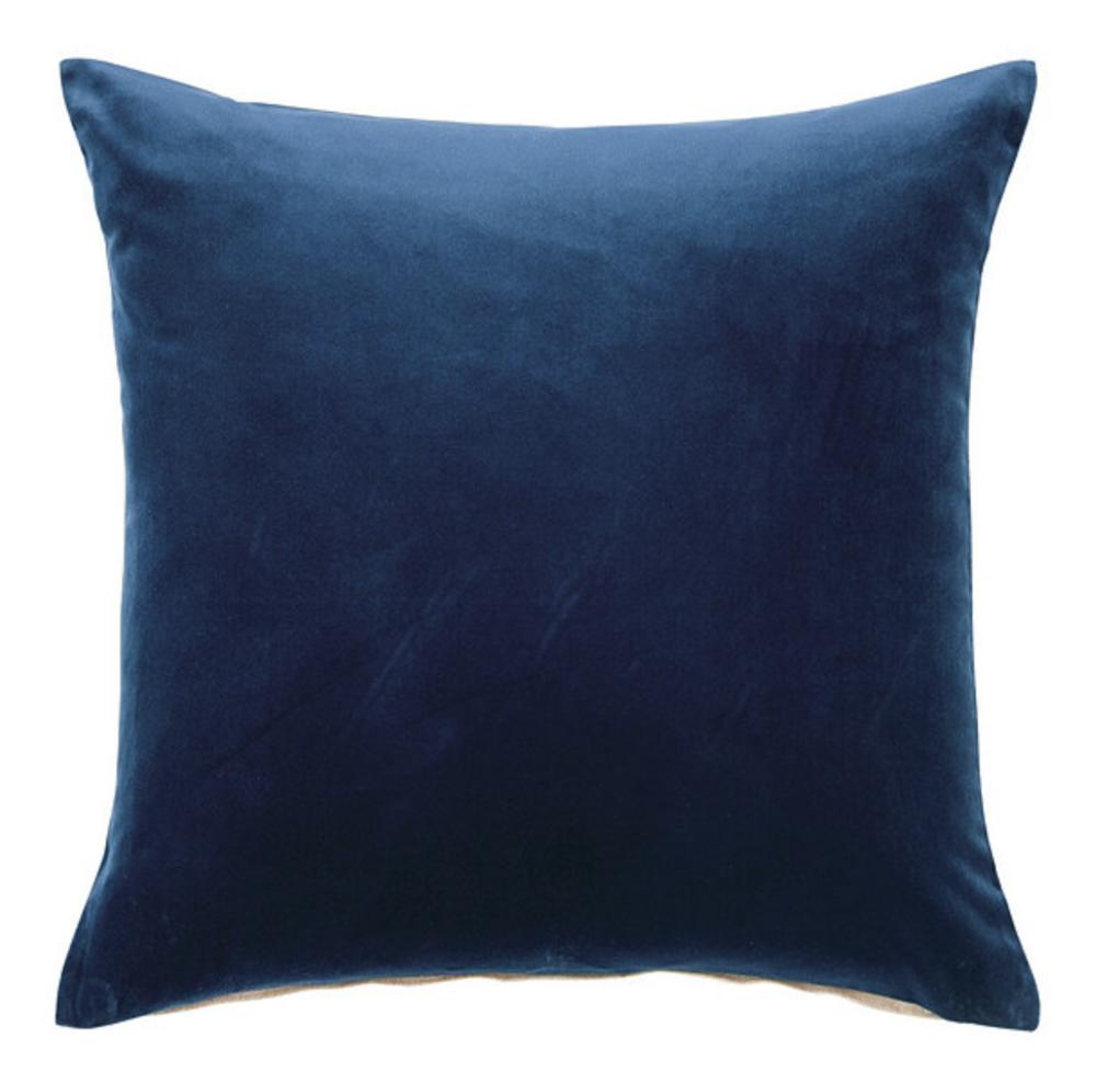 Ballard Designs Blue Velvet Throw Pillow  - $50