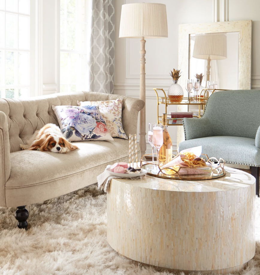 elegant home interiors: mother of pearl coffee table
