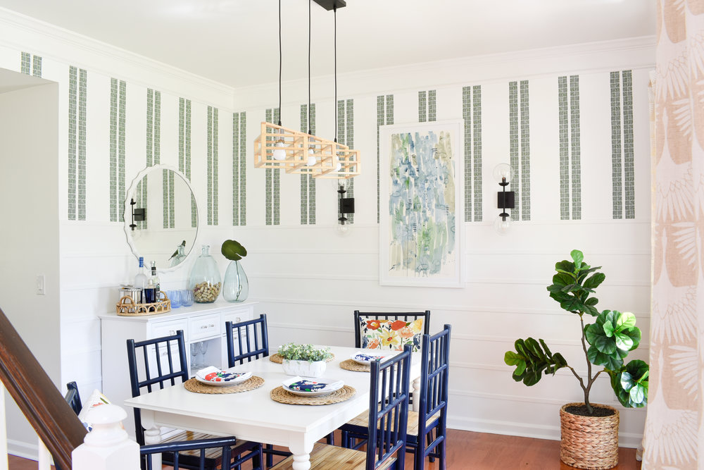 palm beach prep modern coastal eclectic dining room - completed for the Spring 2018 One Room Challenge
