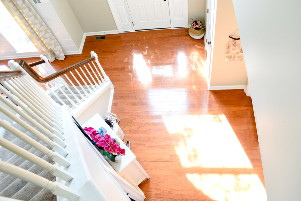 two story foyer - looking down from the top of the stairs