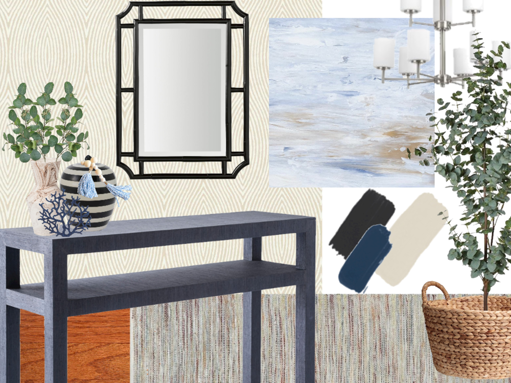 foyer design concept - coastal but upscale modern