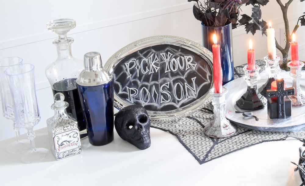 halloween decor: DIY bar sign from dollar store party aisle