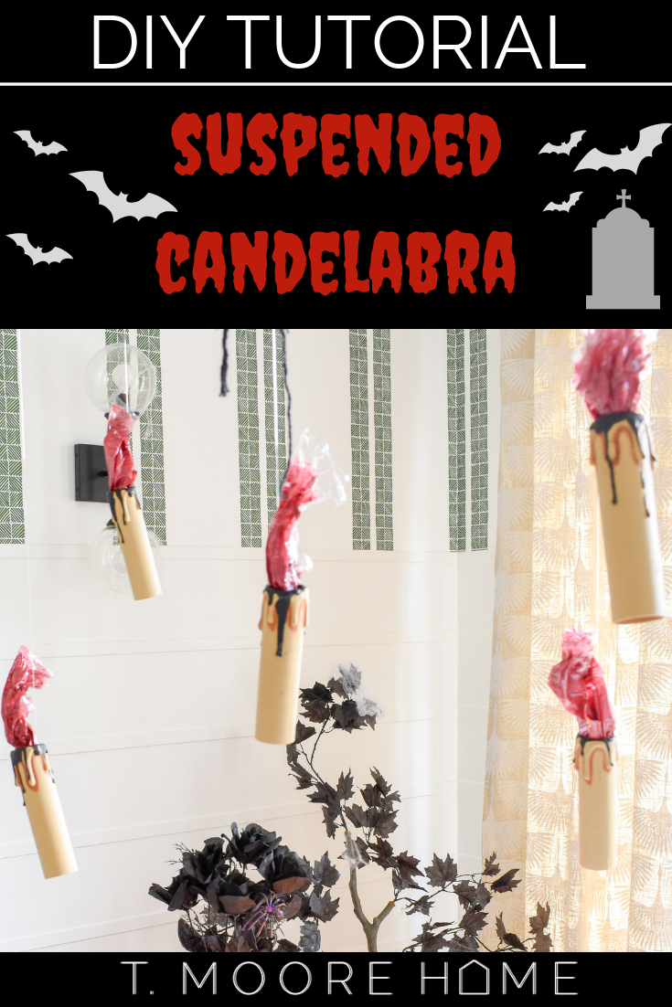 halloween decor ideas - easy DIY hanging candles with red flames