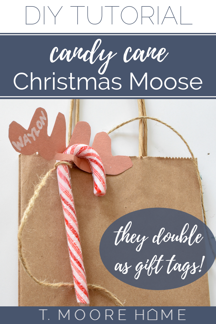 DIY stocking stuffers - A fresh take on a classic candy cane reindeer - this Christmas Moose plays into modern Swedish Christmas style.