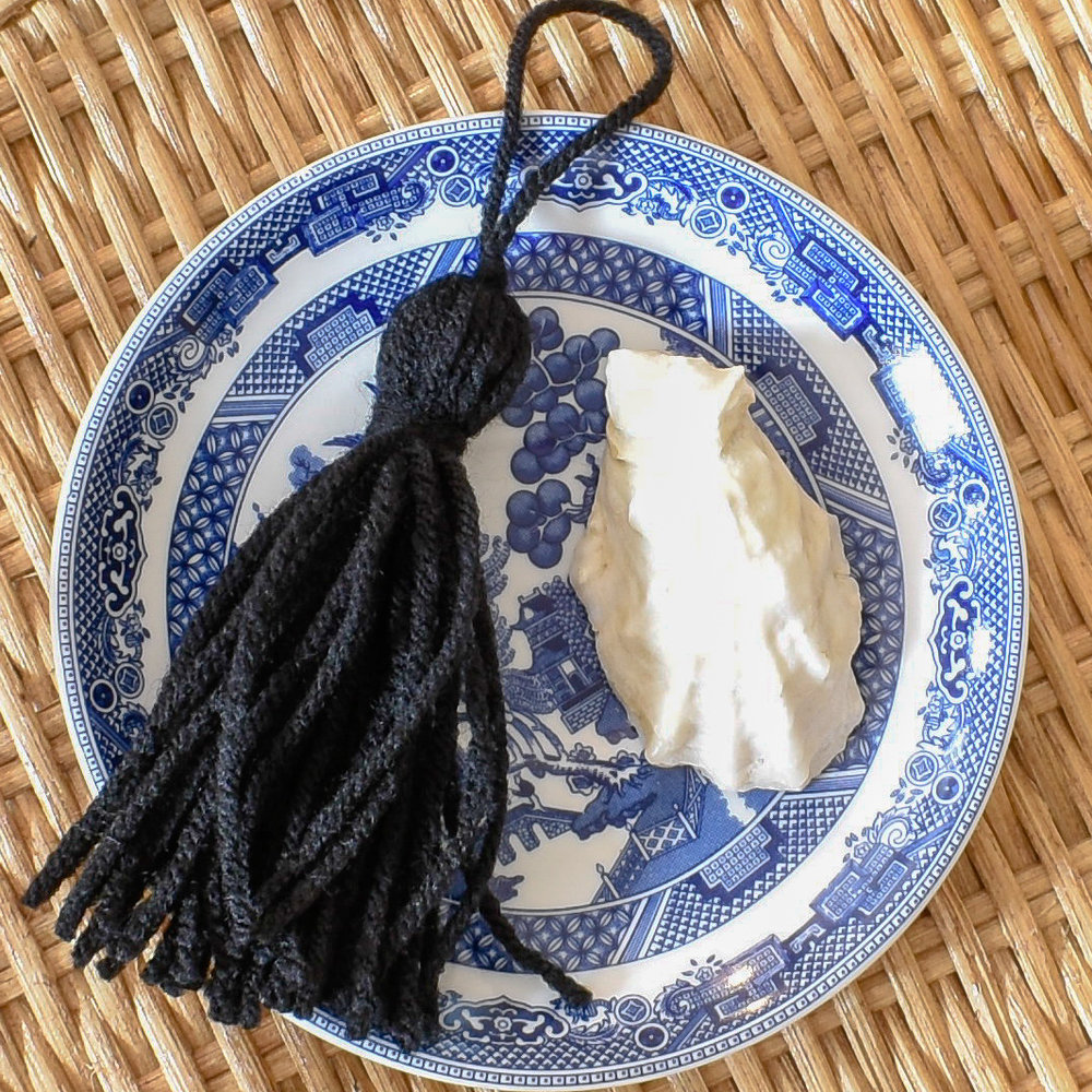 black yarn tassel - oversized - for upholstery and home decor
