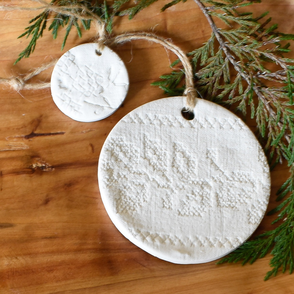 Swedish modern Christmas ornaments in unglazed clay - pressed with vintage cross stitch - modern farmhouse Christmas decor