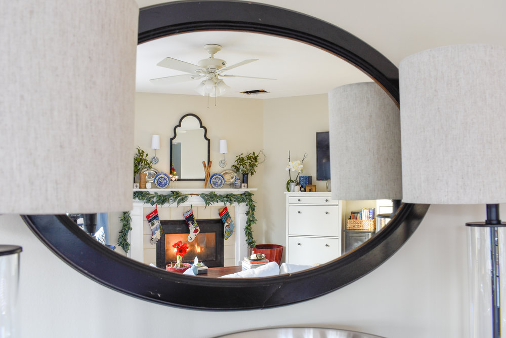 Chinoiserie decor mixed with Christmas touches in this living room