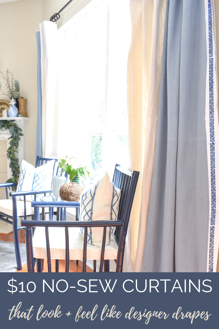 Most Popular DIY Home Decor Projects of 2018 Revealed | Custom Designer Style Drapes for $10! This easy tutorial shows you exactly where to find the fabric (hint: it's not the craft or fabric store) and how to hang them to look like expensive custom pinch pleat curtain panels.