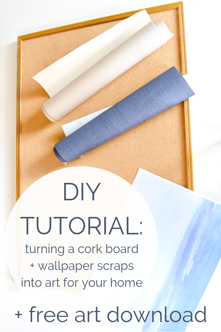 DIY Tutorial - Turning An Old Cork Board and Wallpaper Scraps Into Art For Your Home  + Free Coastal Watercolor Artwork Download | This week on the blog, I'm showing you how to use an old cork board and leftover wallpaper / wrapping paper scraps to create a high-end looking artwork for your home.
